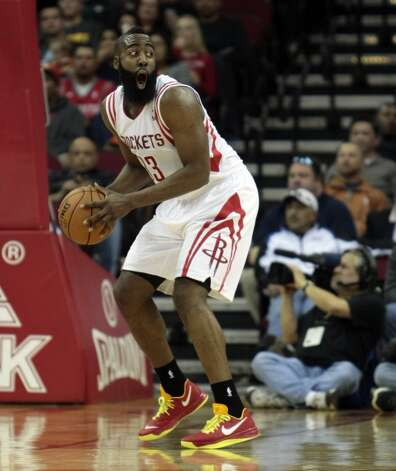 James Harden reacts after being called for a foul during the first half.