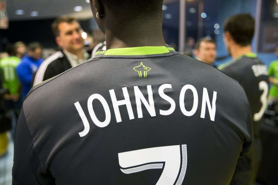 Eddie Johnson wears the new secondary uniforms of the Seattle Sounders FC.