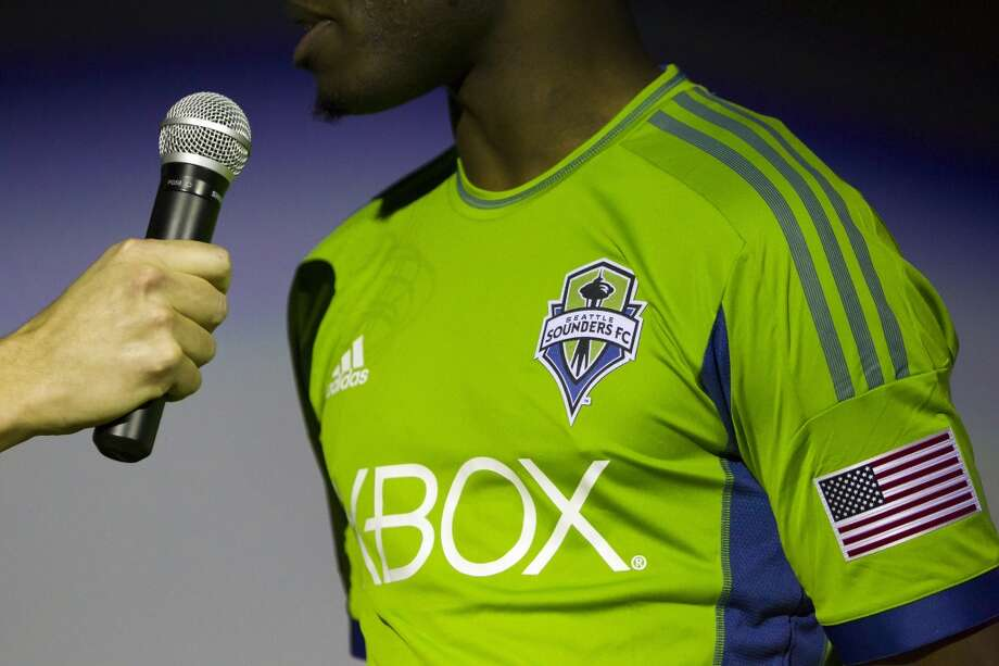 Steve Zakuani answers questions at the unveiling event for the new uniforms of the Seattle Sounders FC.