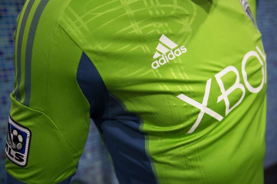 Details of the new primary uniforms of the Seattle Sounders FC display.