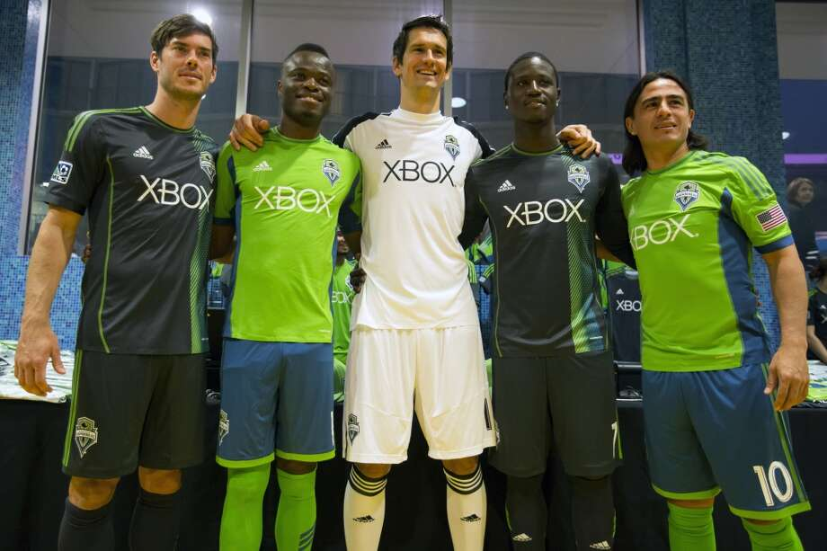 Sounders FC players show off their new threads at the unveiling event for the new uniforms of the Seattle Sounders FC.