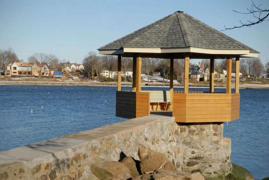 Waterfront homes in Darien, Conn. photographed on February 18, 2013 - the gazebo on Nash Island looking at Long Neck Point. Photo: Dru Nadler / Stamford Advocate Freelance