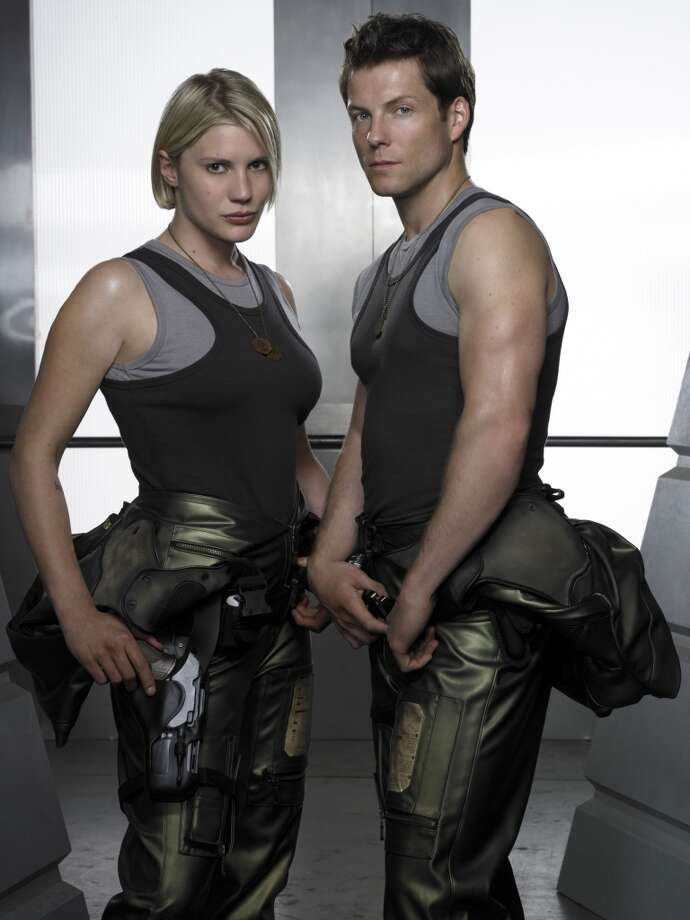 It's Starbuck and Apollo, played by Katee Sackhoff (L) Jamie Bamber (R).