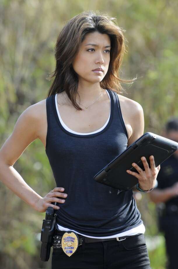 Still looking tough: Grace park plays Honolulu Police Officer Kono Kalakaua in ''Hawaii Five-0.''
