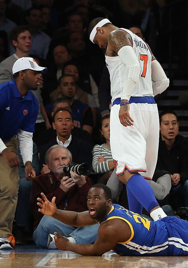 NEW YORK, NY - FEBRUARY 27: Draymond Green #23 of the Golden State Warriors is called for an offensive foul against Carmelo Anthony #7 of the New York Knicks at Madison Square Garden on February 27, 2013 in New York City. NOTE TO USER: User expressly acknowledges and agrees that, by downloading and/or using this photograph, user is consenting to the terms and conditions of the Getty Images License Agreement.  The Knicks defeated the Warriors 109-105. (Photo by Bruce Bennett/Getty Images) Photo: Bruce Bennett, Getty Images