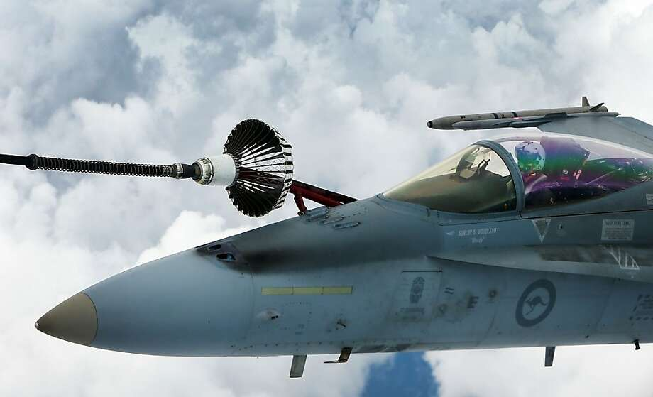 A Royal Australian Air Force F/A-18 Hornet during the Australian Defence Force Air-To-Air refuelling on February 27, 2013 in Melbourne, Australia. Photo: Michael Dodge, Getty Images