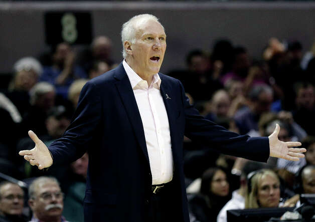 San Antonio Spurs head coach Gregg Popovich questions a call during the second half of an NBA basketball game against the Phoenix Suns, Wednesday, Feb. 27, 2013, in San Antonio. The Suns won 105-101 in overtime. Photo: Eric Gay, Associated Press / AP