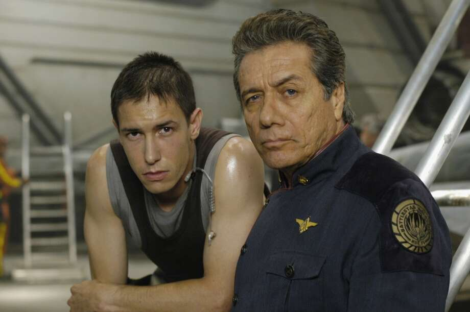 Bodie Olmos, left, the son of James Edward Olmos, right, played Brendan ''Hot Dog'' Costanza. They're pictured in 2004.
