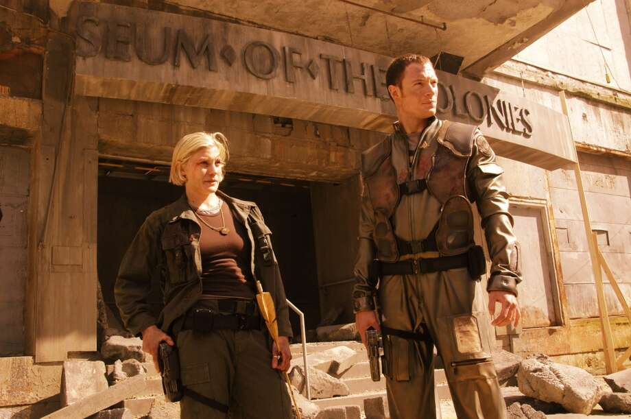 Now for a series of ''Battlestar'' scenes. Do you remember these episodes? This scene with Starbuck and Helo aired in 2005, as part of the double episodes ''Scattered'' and ''Valley of Darkness.''