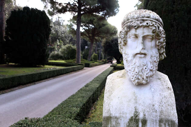 A sculpture stands in the gardens of the Pontifical residence of Castelgandolfo on February 20, 2013 in Rome. Photo: Franco Origlia, Getty Images / 2013 Getty Images
