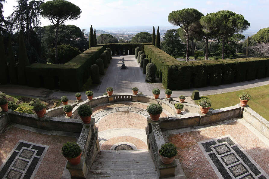 The gardens of the Pontifical residence of Castelgandolfo are seen on February 20, 2013 in Rome.