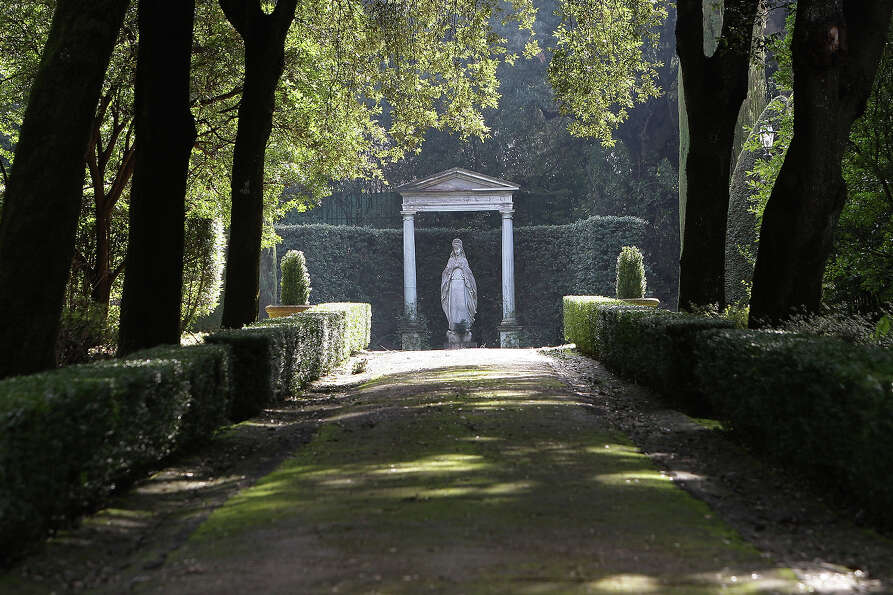 A statue stands in the gardens of the Pontifical residence of Castelgandolfo on February 20, 2013 in