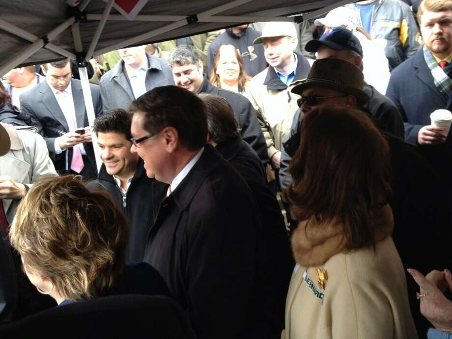 Politicians in a tent wait to speak before the Second Amendment rally at the Capitol in Albany, N.Y., on Thursday, Feb. 28, 2013. Now up: Sen. Cathy Young, R-Olean. (Jimmy Vielkind/Times Union)