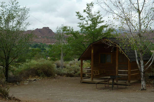 One-room cabins in the Moab KOA Campground turn out to be one of the many highlights of a Utah vacation, with mountains as a backdrop. Photo: Summer Blackwell / For The Express-News