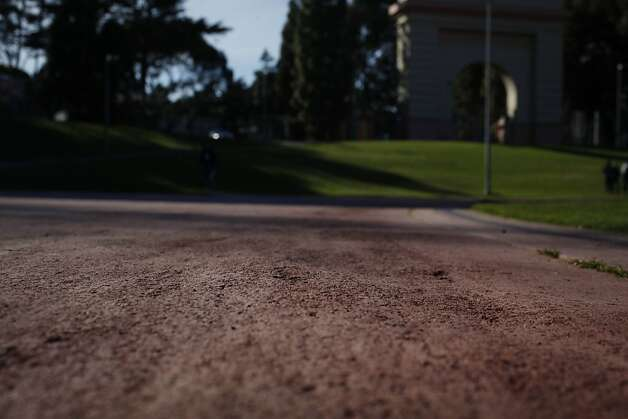 An uneven surface is seen on the running track at Kezar Stadium on Tuesday, February 26, 2013 in San Francisco, Calif. Photo: Lea Suzuki, The Chronicle