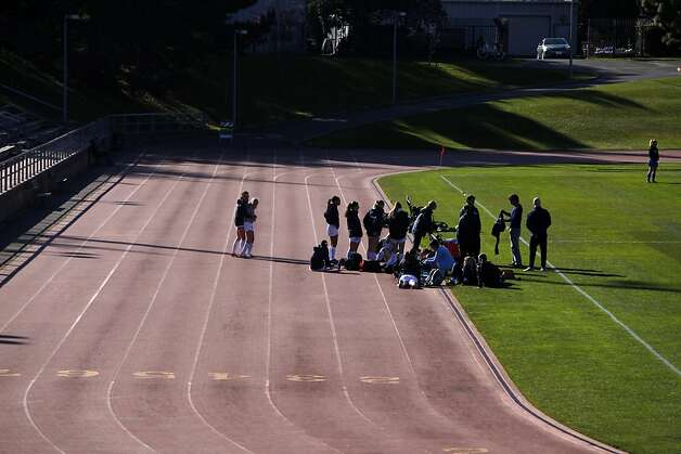 Scuff marks in the different lanes are seen on the running track at Kezar Stadium as the Urban School of San Francisco soccer team gathers for a game on Tuesday, February 26, 2013 in San Francisco, Calif. Photo: Lea Suzuki, The Chronicle