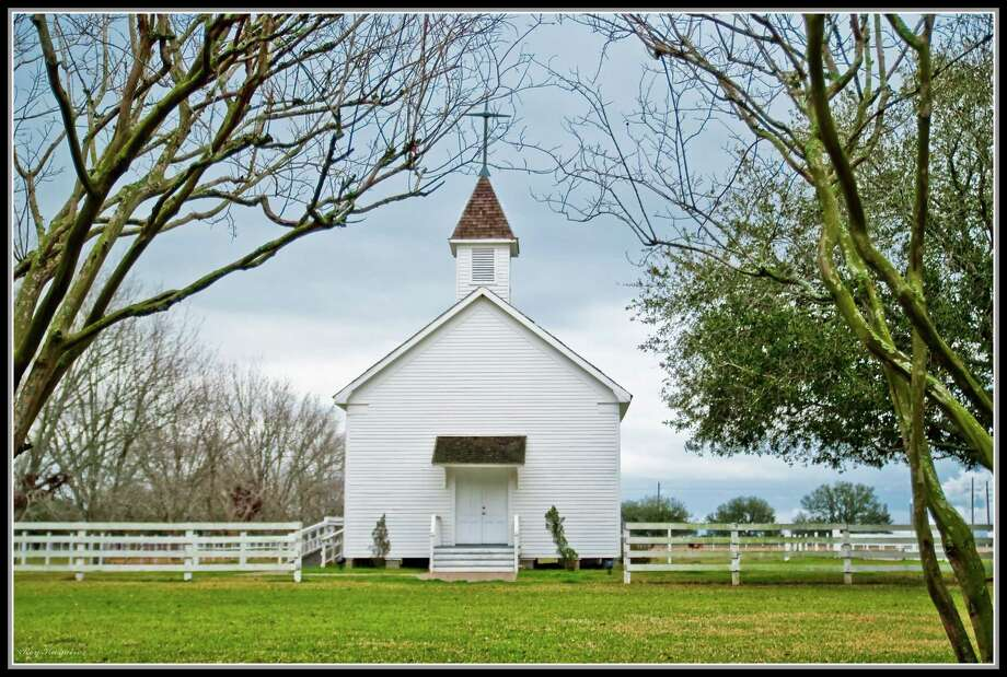 The white clapboard chapel at George Ranch was built in 1900. Photo: Roy Kasmir Photography
