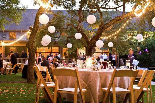 A wedding reception setup at the Retreat at Balcones Spring.