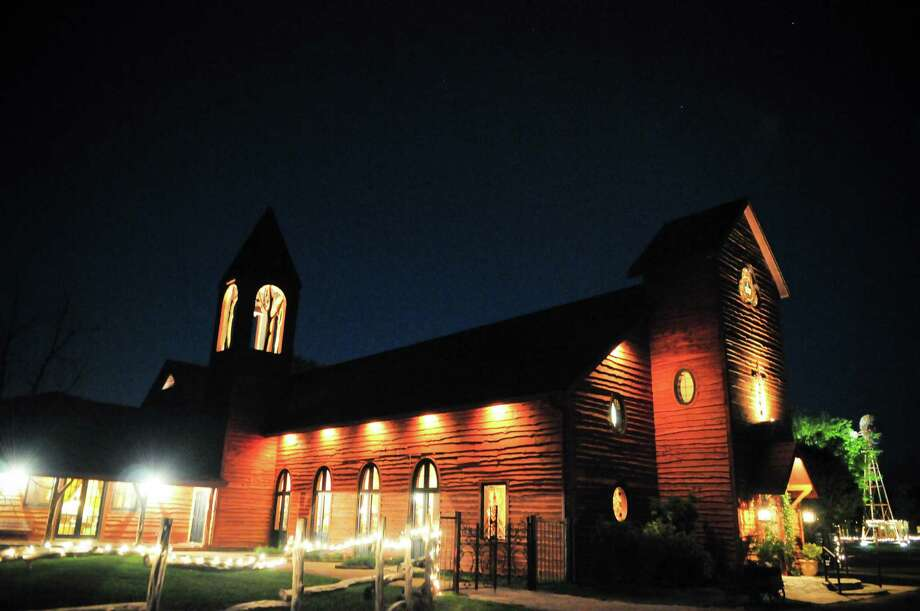 The non-denominational chapel at Old Glory Ranch includes stained glass windows and seating for 400.