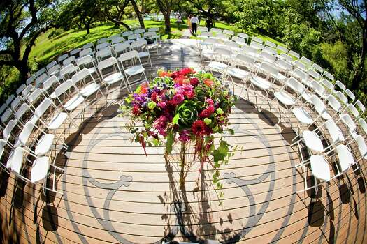 Setup for a wedding ceremony at Red Corral Ranch.  Photo: Ben Godkin Photography, Photographer