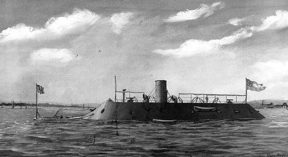 When federal forces abandoned the Norfolk Navy Yard in 1861, they left the hulk of the steam frigate USS Merrimack, burned to the waterline and sunk, but with lower hull and machinery intact. The Confederate Navy raised the ship and converted her into an ironclad, commissioned as the CSS Virginia in February 1862. In addition to her iron armor, the Virginia carried ten guns and an iron ram fixed to her bow. Virginia quickly rammed and sank the sloop USS Cumberland and shelled the frigate USS Congress into submission. Photo: Wash Drawing By Clary Ray, Courtesy Of The U.S. Navy Art Collection, U.S. Naval History & Heritage Command
