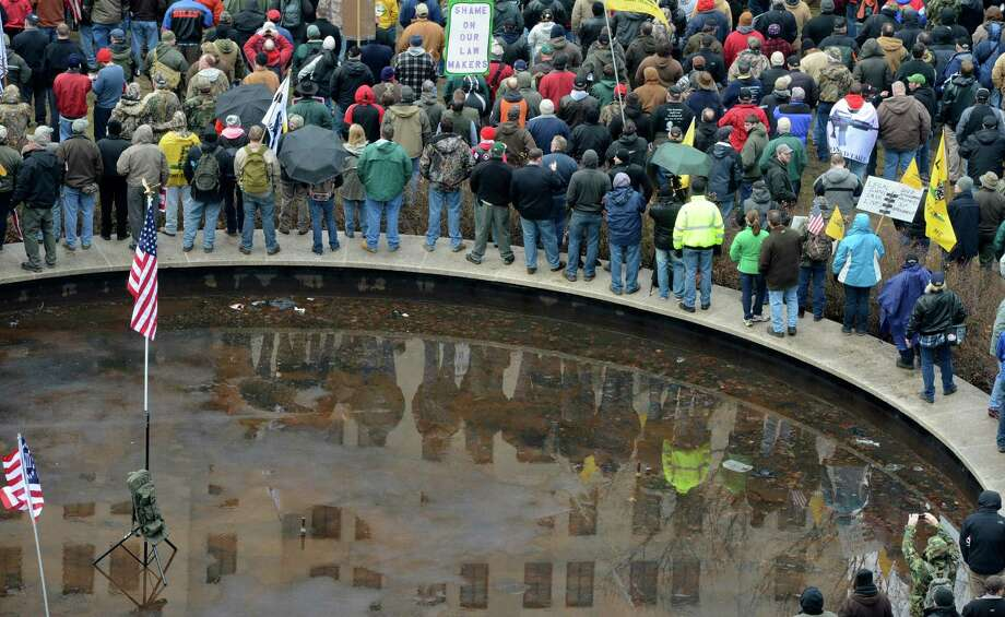Thousands of protesters descended on the west lawn of the State Capitol  Feb. 28, 2013, in Albany, N.Y.   (Skip Dickstein/Times Union) Photo: SKIP DICKSTEIN