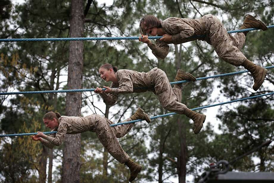 A few good women:Female Marine recruits learn the ropes on the Confidence Course during boot camp at Parris Island, S.C. About 11 percent of the women fail to complete the training. Photo: Scott Olson, Getty Images