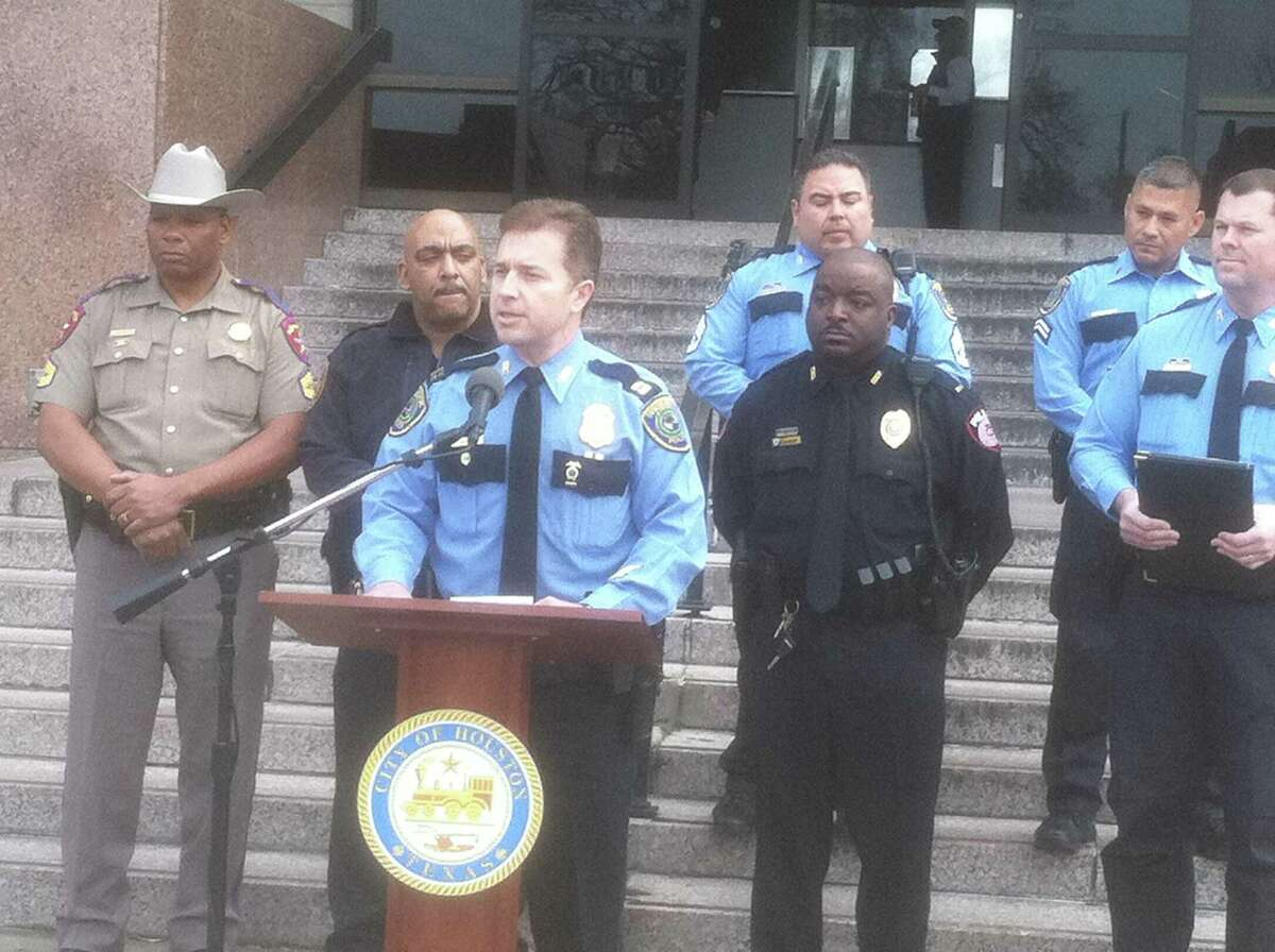Offiicials with the Houston Police Department and other law enforcement agencies discuss a DWI inititive for March during a news conference Thursday morning.