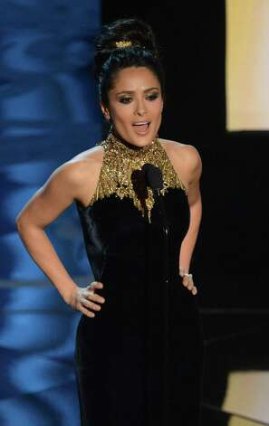Actress Salma Hayek speaks at the Oscars. Did her loveliness eclipse her words? Photo: AFP / Getty Images