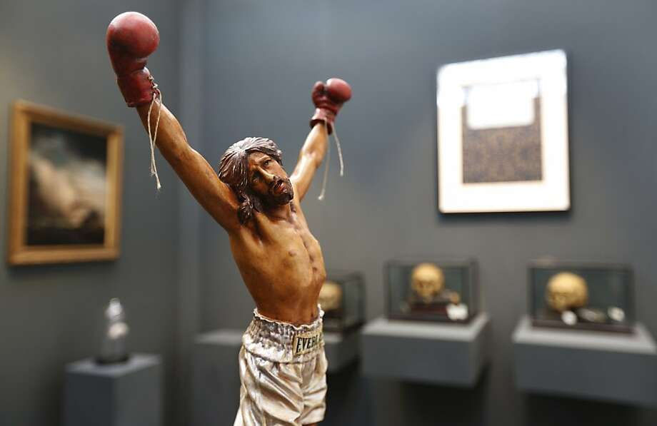 Let he who is without sin throw the first punch:Nancy Fout's sculpture of a pugilist Jesus, on exhibition at the Art 13 fair in London, probably won't score any points with devout Christians. Photo: Lefteris Pitarakis, Associated Press