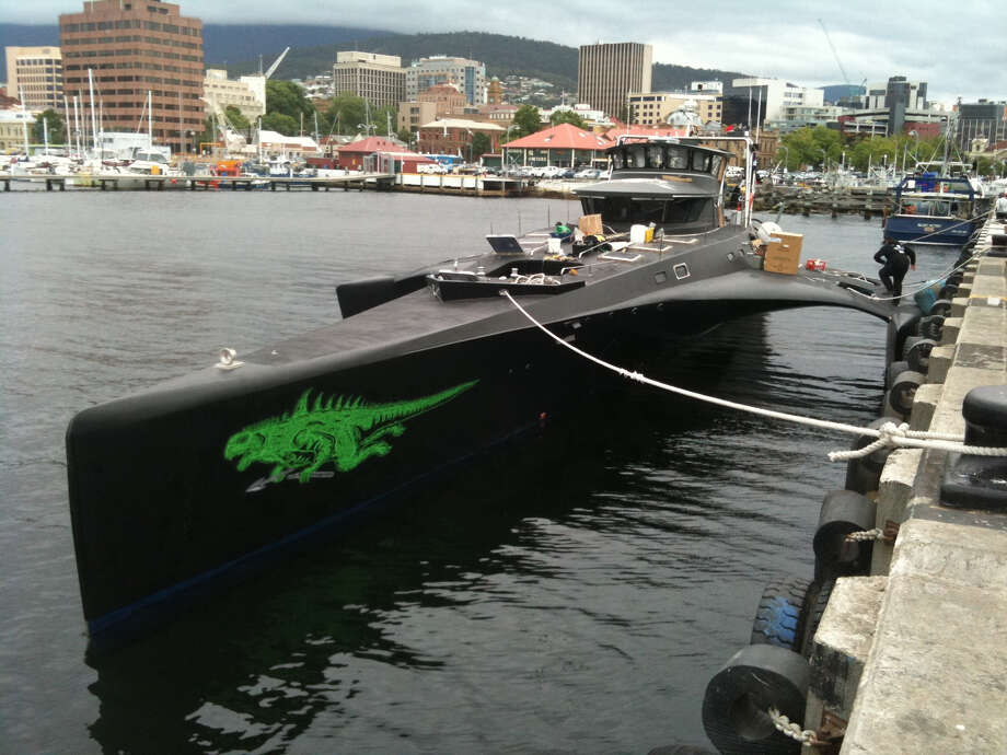 The Sea Shepherd Conservation Society originally named its fast interceptor and scout vessel Gojira (Godzilla). It used the trimaran to chase the Japanese whaling fleet. Photo: Peter Shanks/Wikimedia Commons