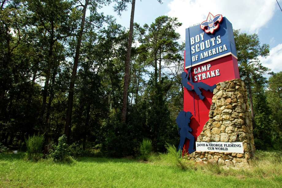 One of the entrances to Camp Strake is visible from Interstate 45 near Conroe. A landmark since the 1940s, Strake is soon to be replaced by a newer campground. Photo: Brett Coomer, HC Staff / © 2012 Houston Chronicle