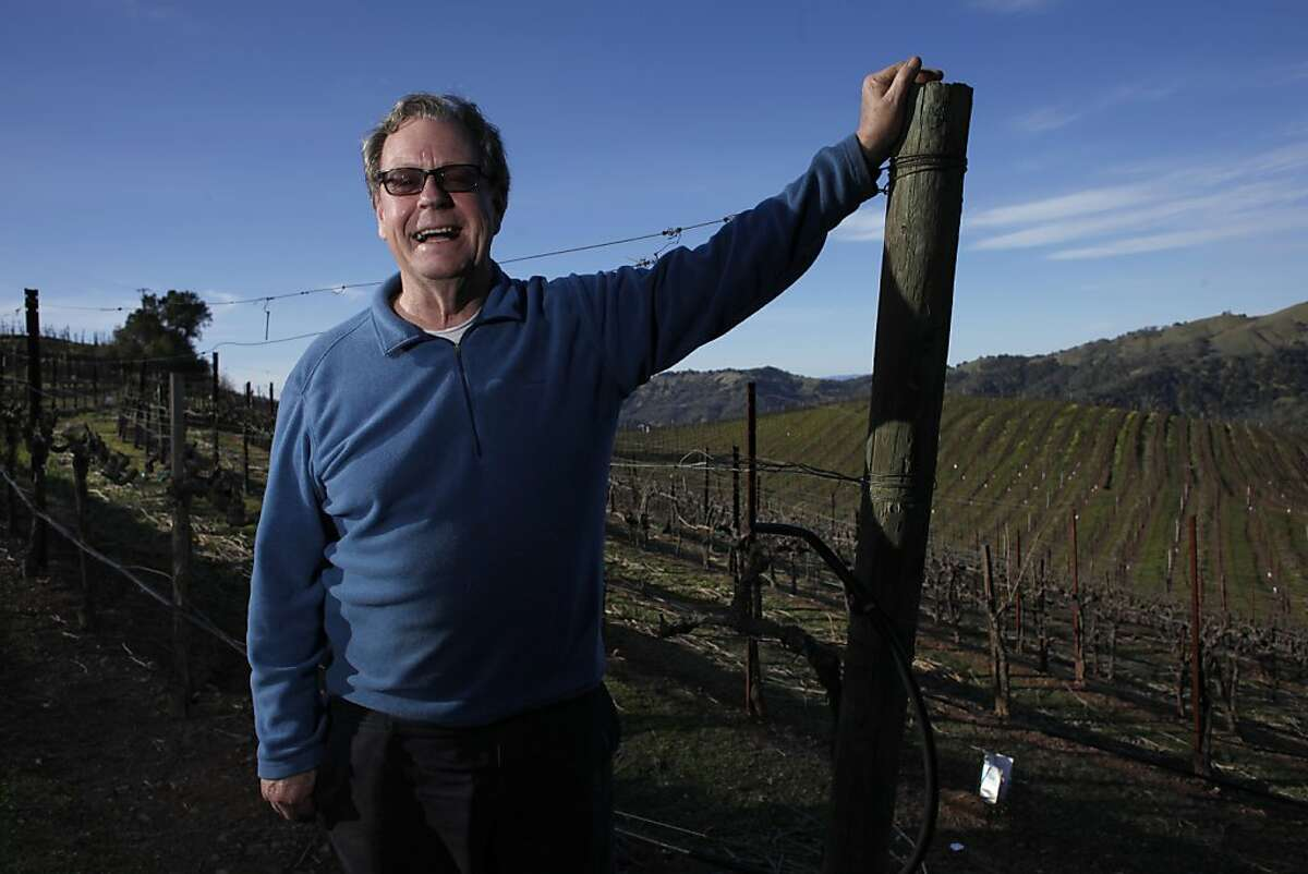 Jay Heminway, owner of Green & Red vineyard walks through Zinfandel vineyard, Tuesday February 26, 2013, in St. Helena, Calif. Hemingway is one of the early pioneers of Zinfandel in Napa, having made house wine for Chez Panisse and made a consistent style of wine since the 1970s.