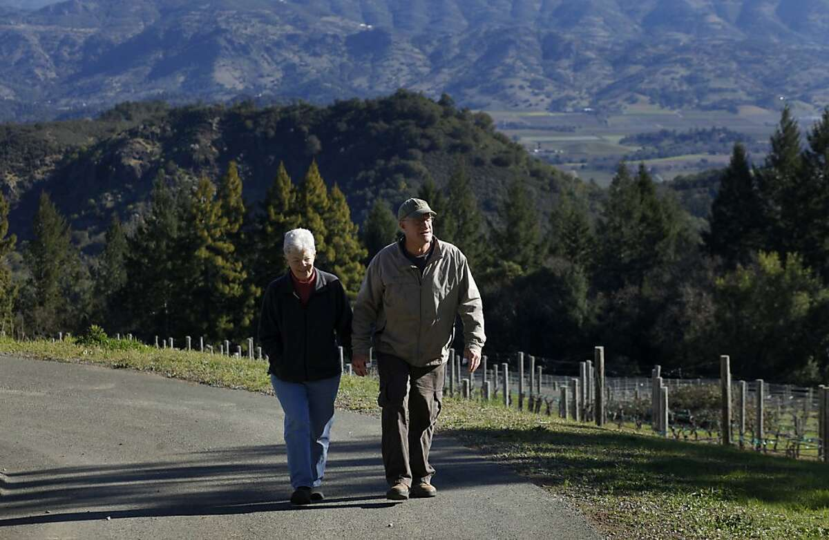 Carole Meredith and husband Steve Lagier walk through their Zinfandel vineyard, Tuesday February 26, 2013, in Napa. Meredith is the geneticist who solved the mystery of Zinfandel's origins and now makes her own, which has been named after the grape's historic name, Tribidrag.