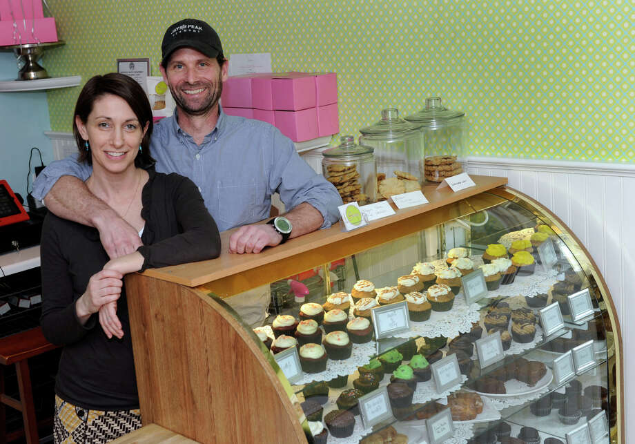 Jordan Gregory, 45, left, and Robert Byrnes, 49, of Ridgefield, are the owners of Swoon, a gluten-free bakery in Ridgefield, Conn. They are photographed in their store, Thursday, Feb. 28, 2013. Photo: Carol Kaliff / The News-Times