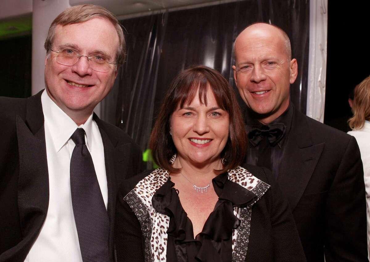 Paul Allen and Jody Allen pictured with Bruce Willis