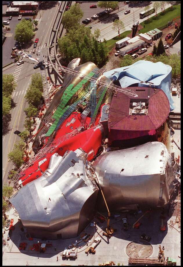 Paul Allen's Experience Music Project, pictured in an an aerial view, is supposed to resemble a broken guitar. Photo: Dan Callister, / / Getty Images North America