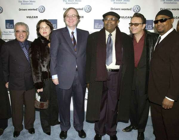 "Martin Scorsese, Jody Allen, Paul G. Allen, B.B. King, Jimmie Vaughan and Chuck D arrive during ""Martin Scorsese Presents Salute to the Blues Concert,"" Kicking off ""The Year of the Blues"", Feb. 7, 2003 at Radio City Music Hall in New York City. Photo: KMazur, / / 2003 Wireimage.com"