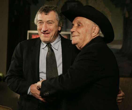DeNiro and LaMotta stand for photographers before watching a 25th anniversary screening of the movie Thursday, Jan. 27, 2005. Photo: JULIE JACOBSON, AP / AP