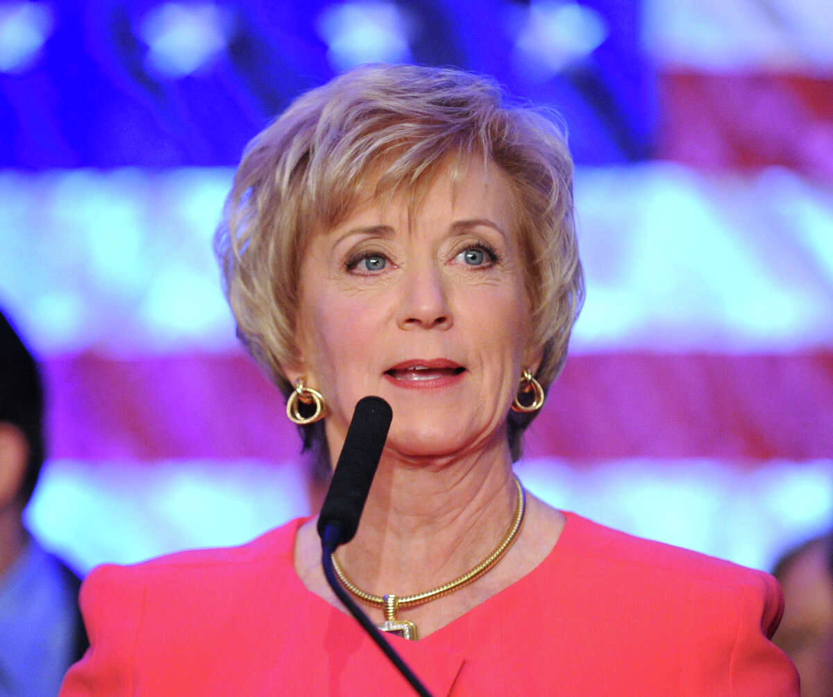 Republican Linda McMahon gives her concession speech in the race for U.S. Senate on election night at the Hilton Stamford Hotel, Conn., Nov. 6, 2012. McMahon was defeated by Democrat Chris Murphy.