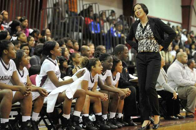 Central girls head basketball coach Rolander Fontenot reacts to an official's call in the first half against Ozen in their District 20-4A game at Central High School on January 25, 2011. Valentino Mauricio/The Enterprise / Beaumont