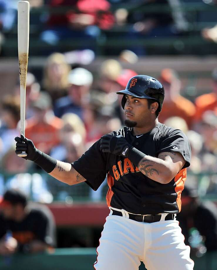 Hector Sanchez figures to be part of the Giants' power- starved, five-man bench. Photo: Lance Iversen, The Chronicle