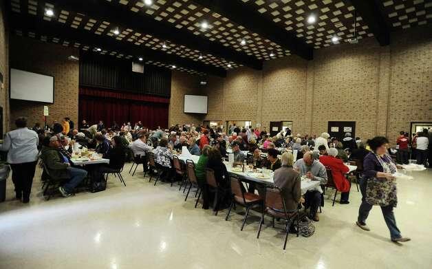 Hundreds filled the First United Methodist Church on Thursday, February 28, 2013, for the annual Oyster Supper. Photo taken: Randy Edwards/The Enterprise Photo: Randy Edwards
