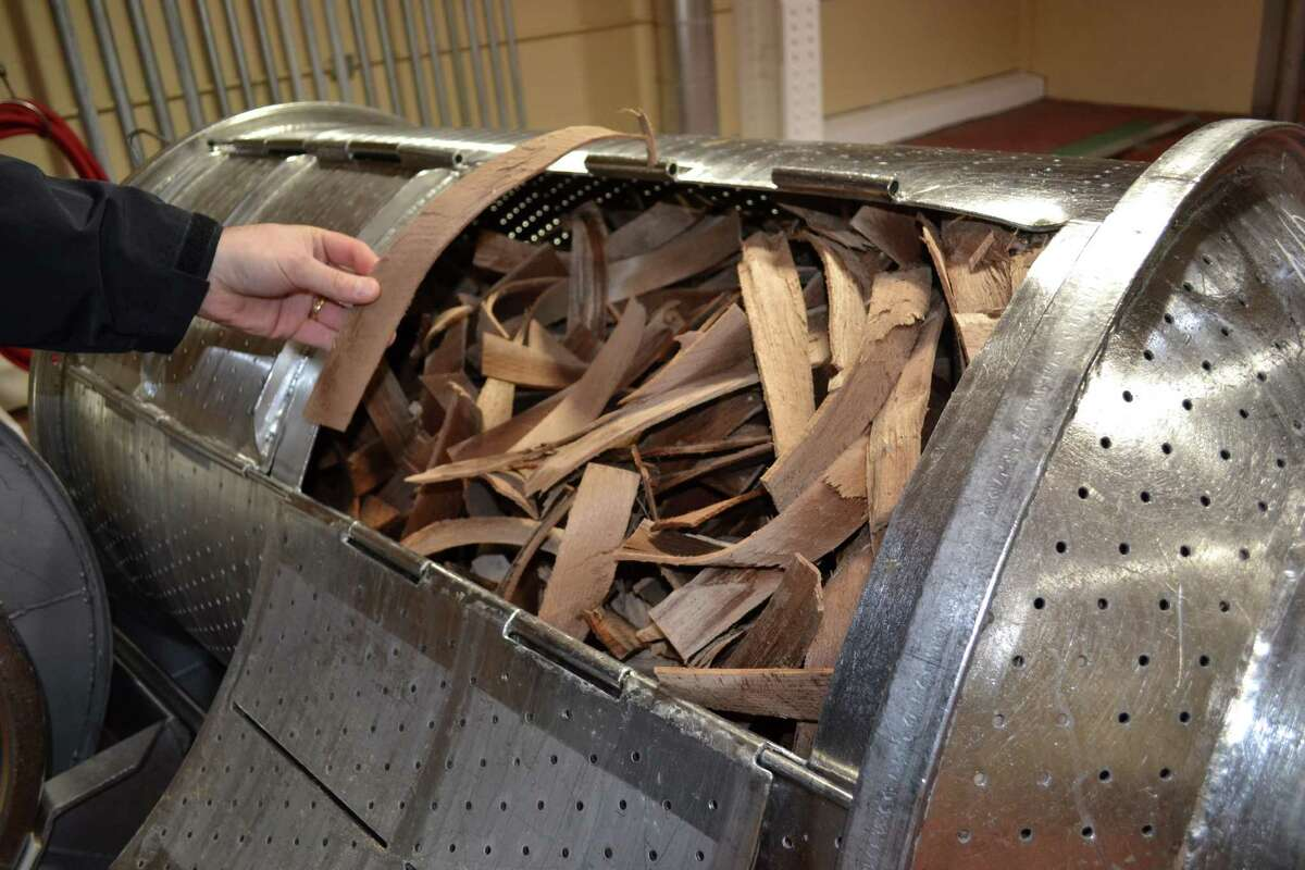 Strips of beechwood will be added to the lagering tanks at the Anheuser-Busch brewery in east Houston. Photo was taken December 2011 and appeared in the book