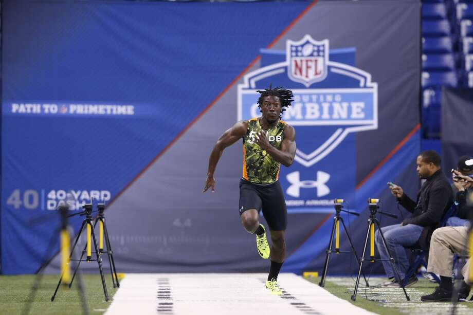 Washington cornerback Desmond Trufant runs the 40-yard dash during the 2013 NFL Combine on Feb. 26 at Lucas Oil Stadium in Indianapolis. His official time was 4.38 seconds, though his first unofficial time was 4.31 seconds.