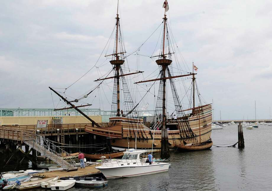 FILE - In this Sept. 9, 2008 file photo, a replica of the Mayflower ship sits docked in Plymouth, Mass. The 56-year-old Mayflower II is undergoing major repairs at the shipyard in Fairhaven, Mass. It is expected to be completed in May, when it will return to the Plymouth waterfront as part of the Plimoth Plantation living-history museum. The ship is a full-scale reproduction of the Mayflower that sailed from England to Plymouth in 1620. (AP Photo/Lisa Poole, File) Photo: Lisa Poole