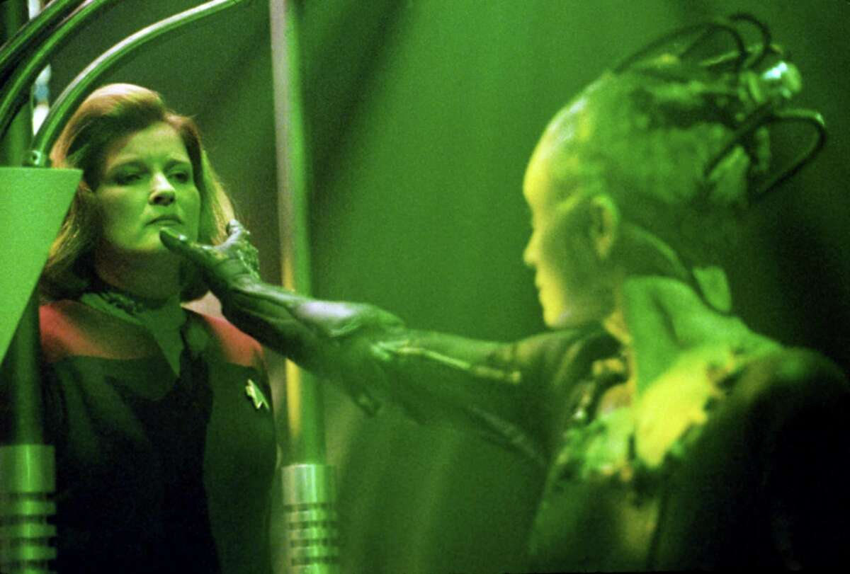 Actress Kate Mulgrew stars as Captain Kathryn Janeway and Susanna Thompson stars as the Borg Queen in