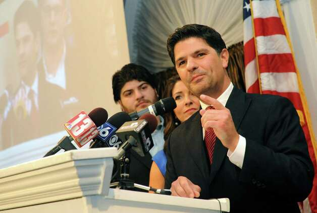 Republican candidate for the New York Senate 46th district George Amedore declares victory in his race at the Glen Sanders Mansion in Scotia, NY Tuesday Nov. 6, 2012. (Michael P. Farrell/Times Union) Photo: Michael P. Farrell / 00019944B