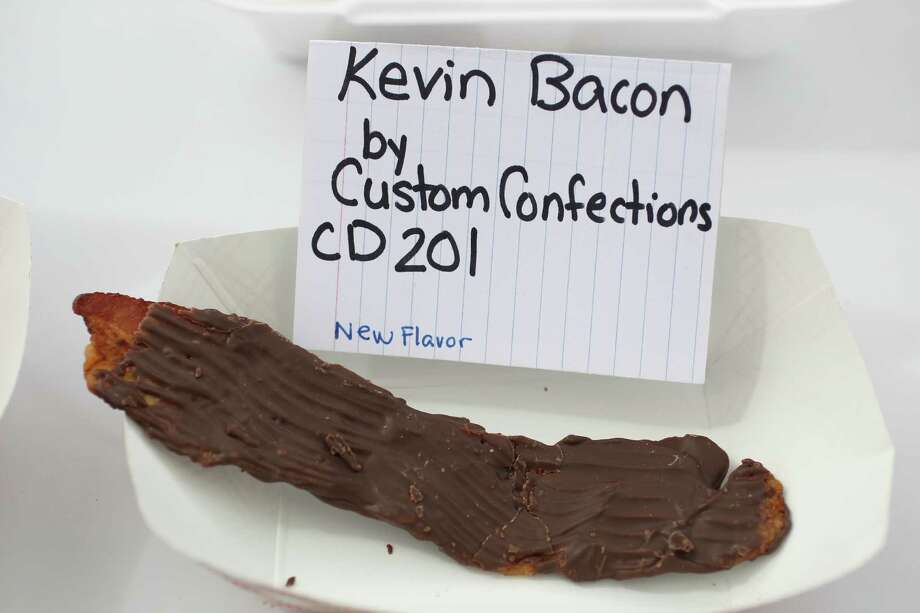 Kevin Bacon, chocolate covered bacon by Custom Confections, on display during the annual Golden Buckle Foodie Awards at the Houston Livestock Show and Rodeo, Thursday, Feb. 28, 2013, in Houston. Photo: Karen Warren, Houston Chronicle / © 2013 Houston Chronicle