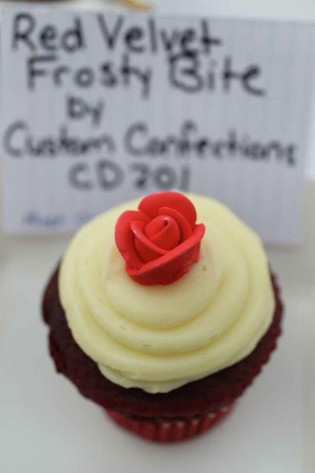 The Red Velvet Frosty Bite by Custom Confections won 1st place for Most Creative Foods during the annual Golden Buckle Foodie Awards at the Houston Livestock Show and Rodeo, Thursday, Feb. 28, 2013, in Houston. Photo: Karen Warren, Houston Chronicle / © 2013 Houston Chronicle